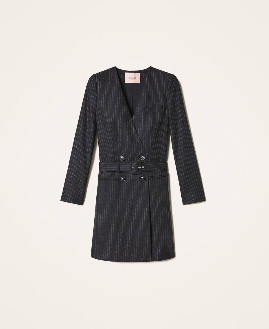 "Lurex pin striped dress with belt Black / ""Lurex"" Gold Pin Stripe Woman 202TT2176-0S"