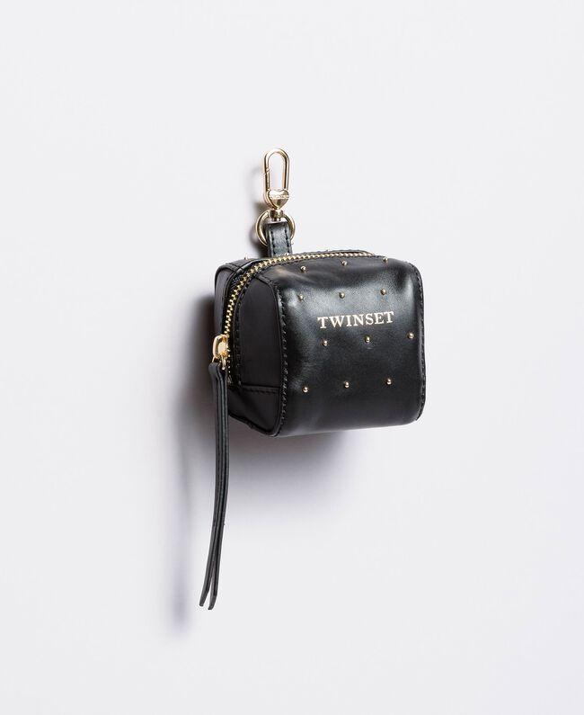 Studded leather keychain Black Woman AA8PA4-01