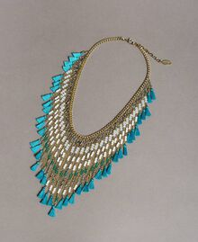 Necklace with beaded fringes Tile Blue Woman 191TO5340-01