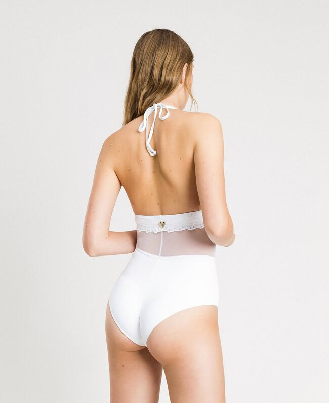 One-piece swimsuit with broderie anglaise embroidery and tulle White Woman 191LBMEZZ-03