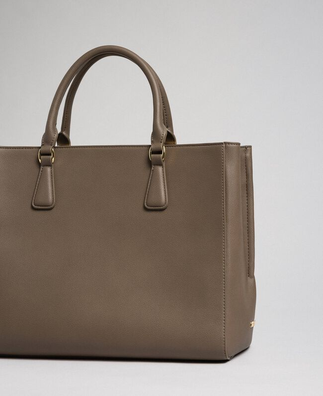 Borsa shopper in similpelle con logo Beige Taupe Donna 192TO8050-03