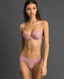 Polka dot briefs with lace Micro Polka Dot Peach Rose Print Woman 192LI6366-01