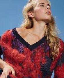 Maxi pull en laine et mohair floral Imprimé Grande Fleur Violet «Vibrant» / Rouge Vénitien Femme 202TT3300-01