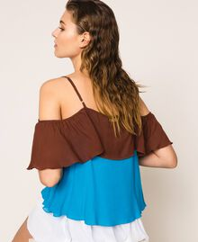 "Colour block georgette top with flounces Multicolour ""Bay"" Blue / ""Choco"" Brown / Optical White Woman 201LM2HHH-04"