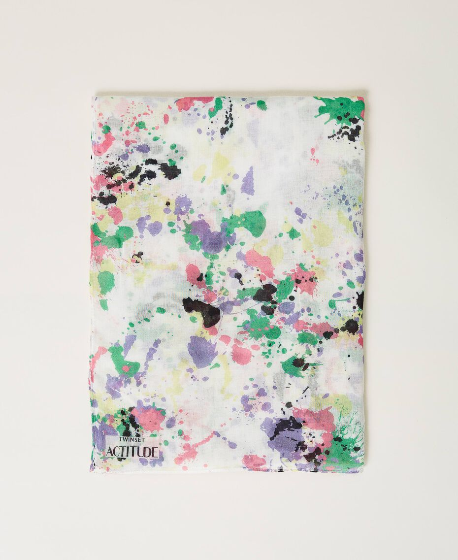 "Scarf with print ""Off White Spots"" Multicolour Woman 211MO5364-03"