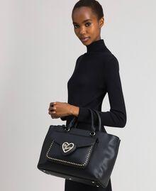 Zweifarbiger Shopper aus Lederimitat Schwarz Frau 192MA7100-0S