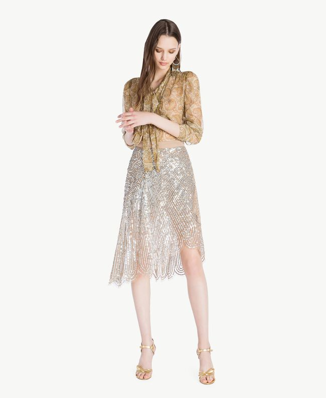 All over sequin skirt Dark Silver Woman TS82EB-05
