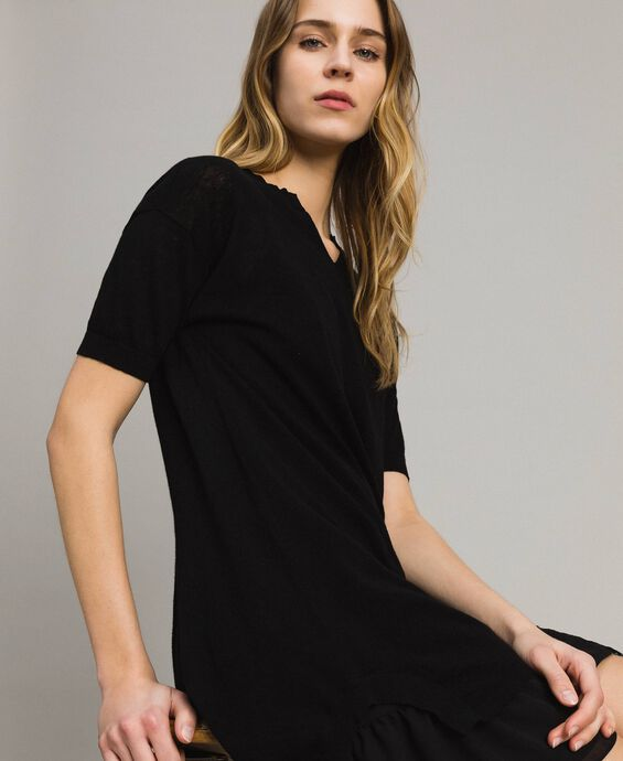 Vestido asimétrico de mezcla de lino