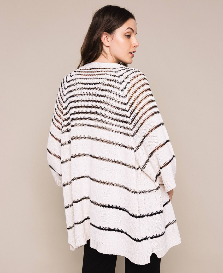 Maxi cardigan avec rayures contrastées Rayé Blanc Antique / Noir Femme 201TT3130-03