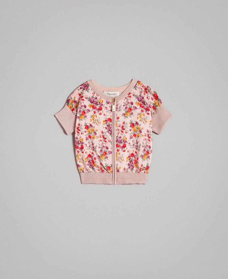 Geknüpfter Lurex-Cardigan mit Blumenmuster Motiv Miniblumen Kind 191GB3050-01