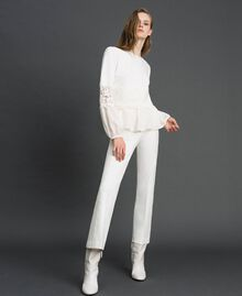 Blouse with macramé lace and flounce White Snow Woman 192TT2213-0T