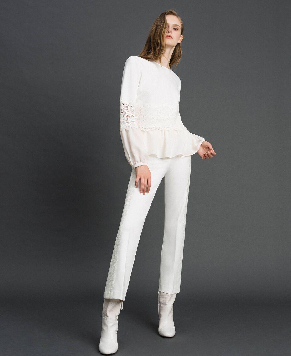 Blusa con pizzo macramè e balza Bianco Neve Donna 192TT2213-0T