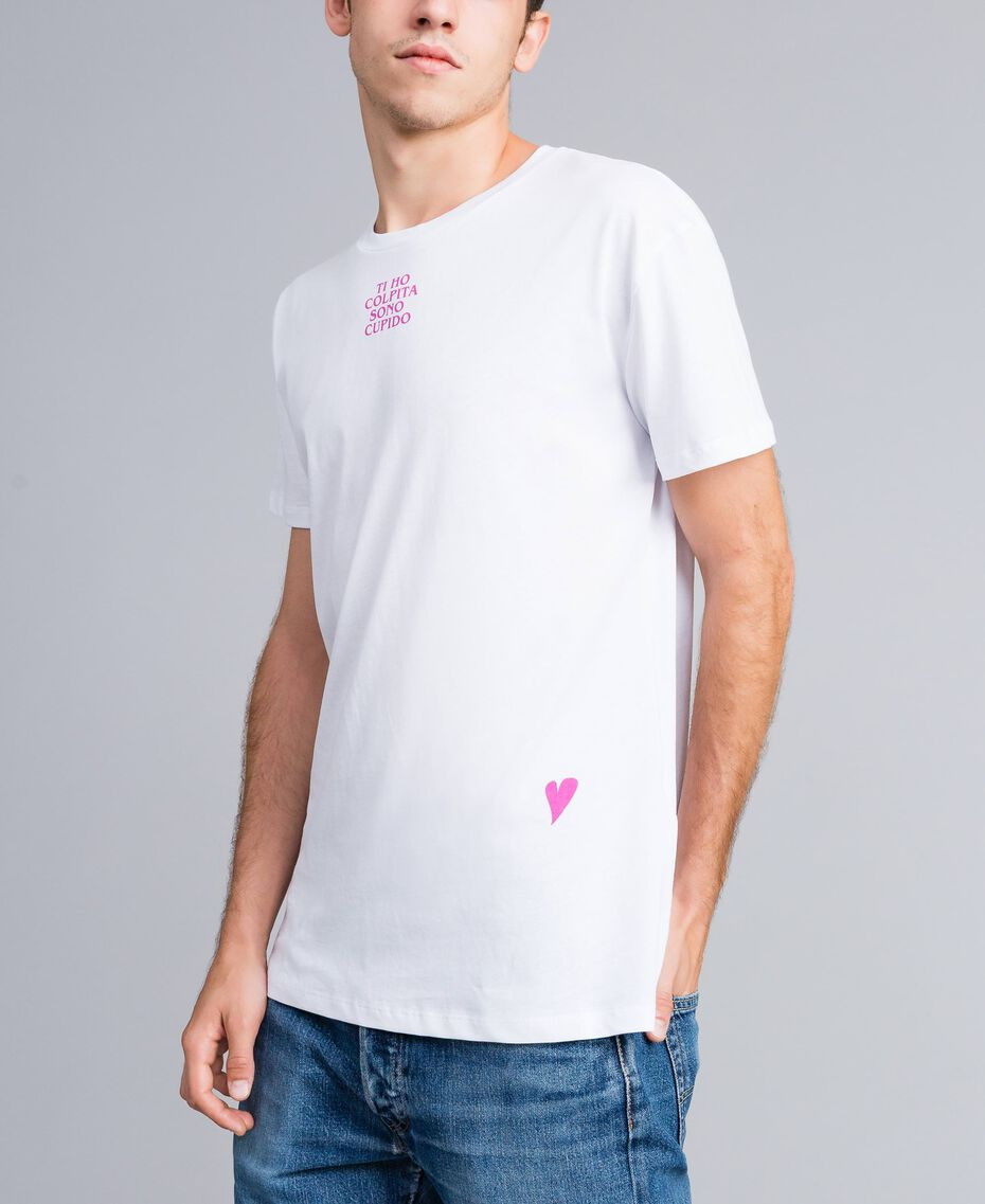 Unisex-T-Shirt für Erwachsene aus Baumwolle mit Print Weiß Frau QA8TMN-06