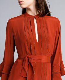 Robe longue en soie mélangée avec strass Brûlé Femme TA8233-05