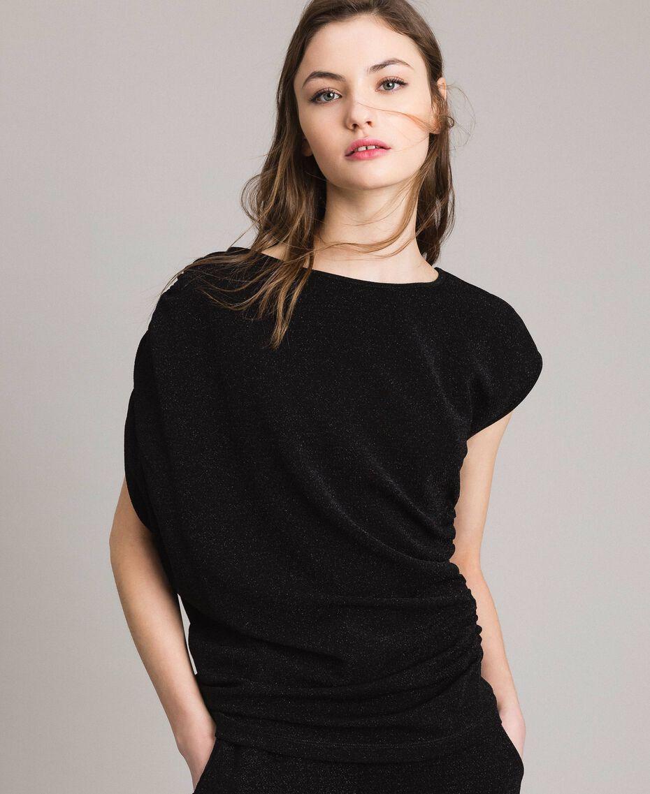 Top en lurex avec drapés et cordon coulissant Noir Femme 191MP2024-01