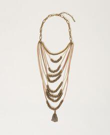 Ожерелье в несколько нитей с металлическим бисером Разноцветный Ленты Состаренная Латунь женщина 211TO501G-01