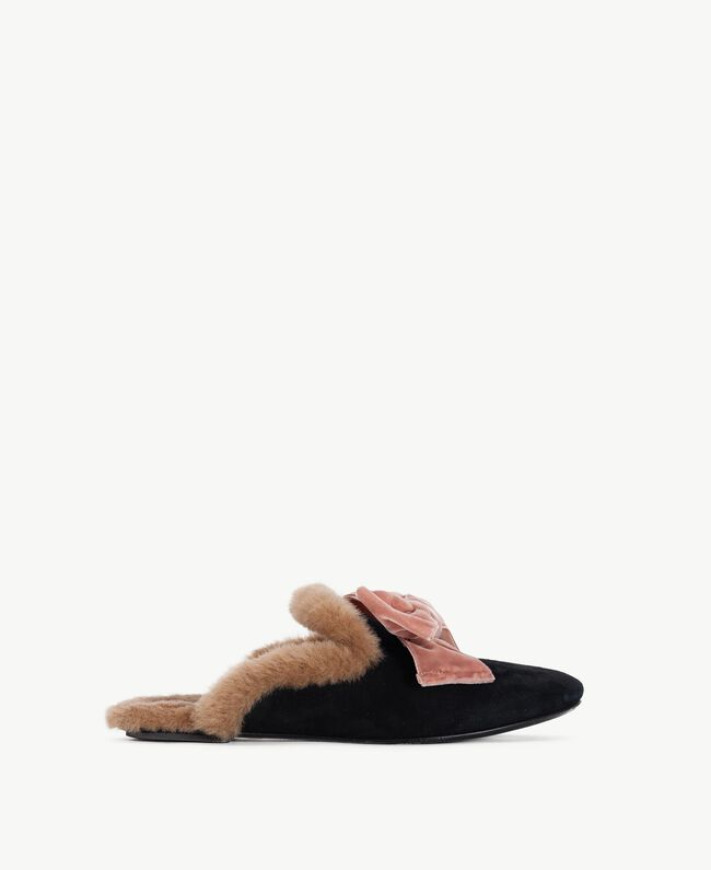 "TWINSET slippers daim Noir / Marron ""Deep Honey"" CA7THQ-01"