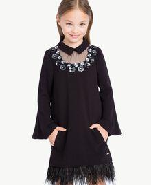 Kleid mit Federn Schwarz GA72M1-04