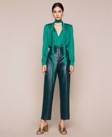 "Crocodile print faux leather trousers ""Forest"" Green Woman 201TP2361-01"