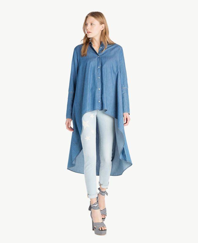 Denim maxi shirt Denim Blue Woman JS82U2-01