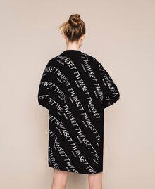 Cardigan jacquard avec logo Bicolore Noir / Blanc Neige Femme 201TP3130-03