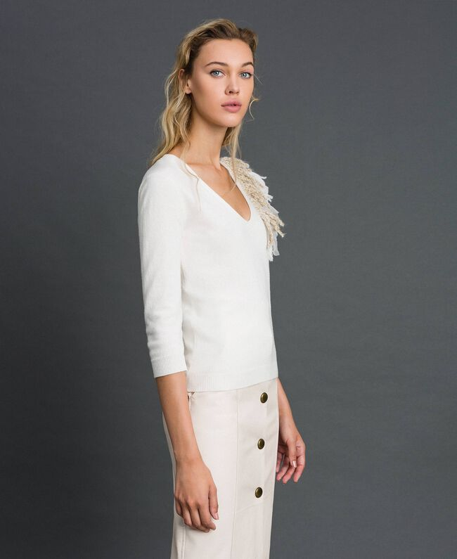 Cashmere blend jumper with fringes White Snow Woman 192TT3304-03