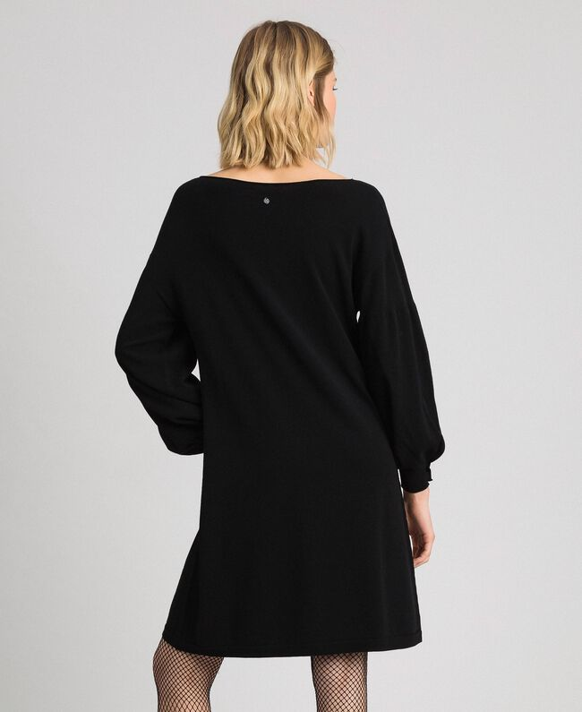 Balloon sleeve dress with pearl buttons Black Woman 192TP3241-03