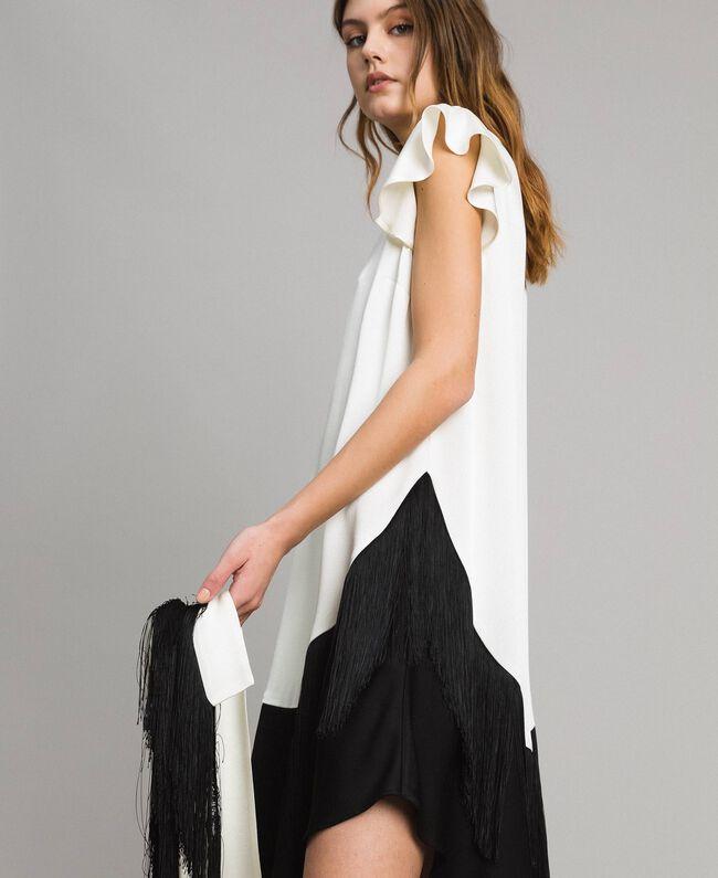 """Fringed belt dress Bicolour """"Snow"""" White / Black Woman 191TT2381-04"""