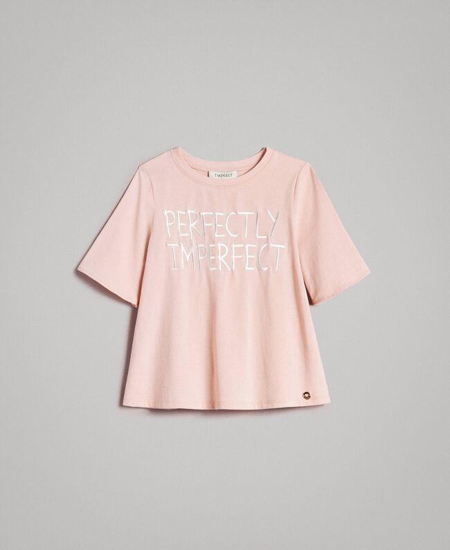 T-Shirt aus Jerseystoff mit Stickerei Blütenrosa Kind 191GJ2032-01