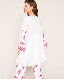 Kaftan with two-tone embroidery Two-tone Shocking Pink / Optical White Woman 201LM2NBB-04