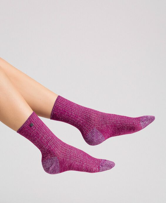 Ribbed socks with lurex and logo