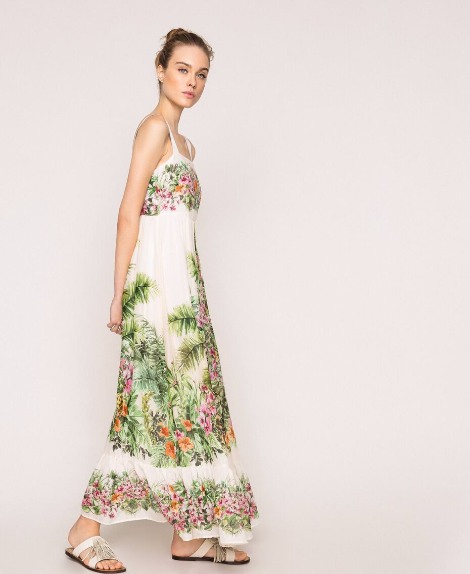 Vestido largo con estampado de flores Estampado Jungle Flowers Nieve Mujer 201TT2483-01