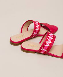 "Leather sliders with logo band Two-tone ""Geranium"" Red / ""Jazz"" Pink Woman 201TCT04J-04"