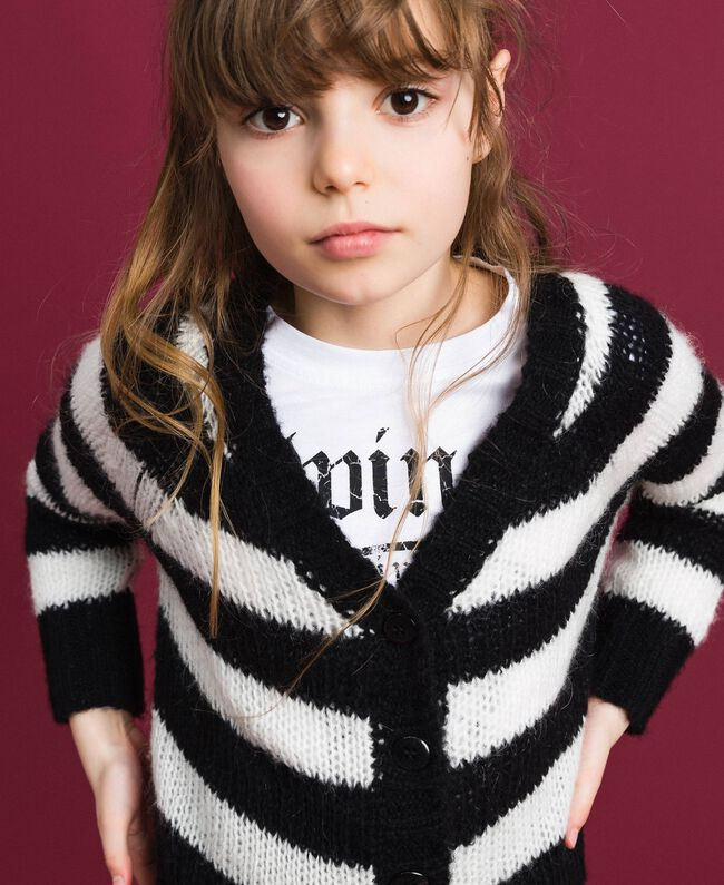 Two-tone striped mohair cardigan Ruby Wine Striped Jacquard / Red Child 192GJ3221-01