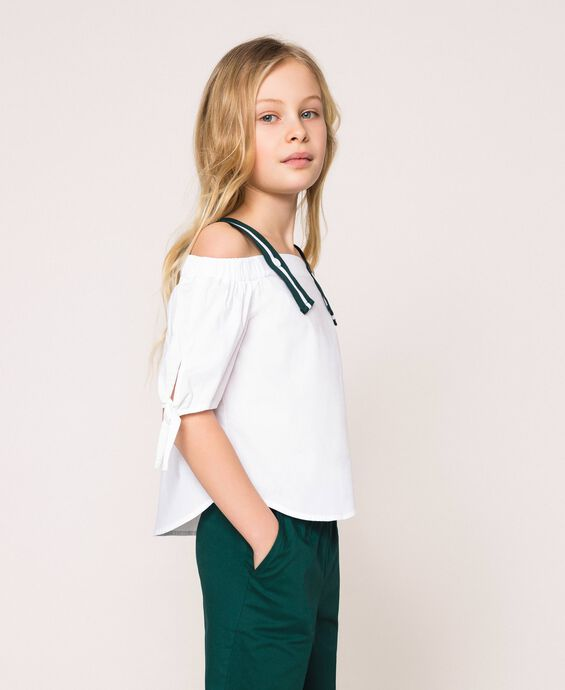 Poplin blouse with two-tone shoulder straps