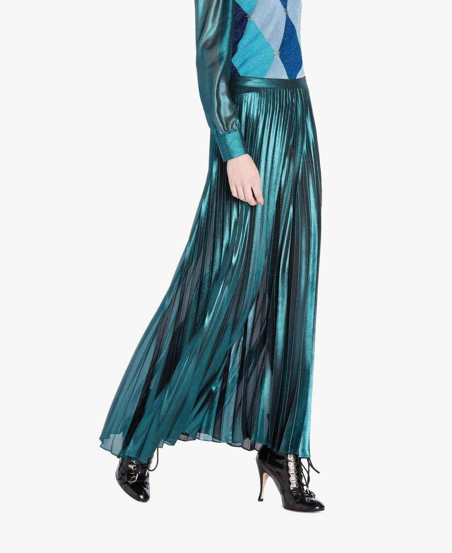 Pleated palazzo pants Metallic Turquoise Woman PS82QQ-02