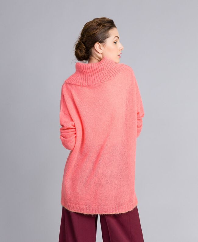 Maglia in mohair con top in pizzo Rosa Royal Pink Donna PA836F-04