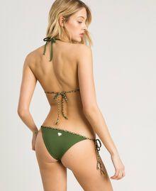 Bas de bikini tanga avec lacets torsadés Vert Amazone Femme 191LMMC88-03