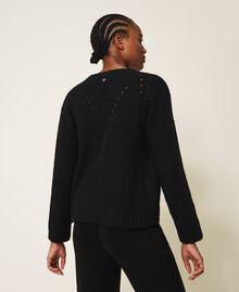 Mixed stitch work jumper Black Woman 202MP3210-03