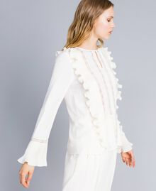 Silk blend blouse with ruches and lace White Snow Woman TA823Q-02