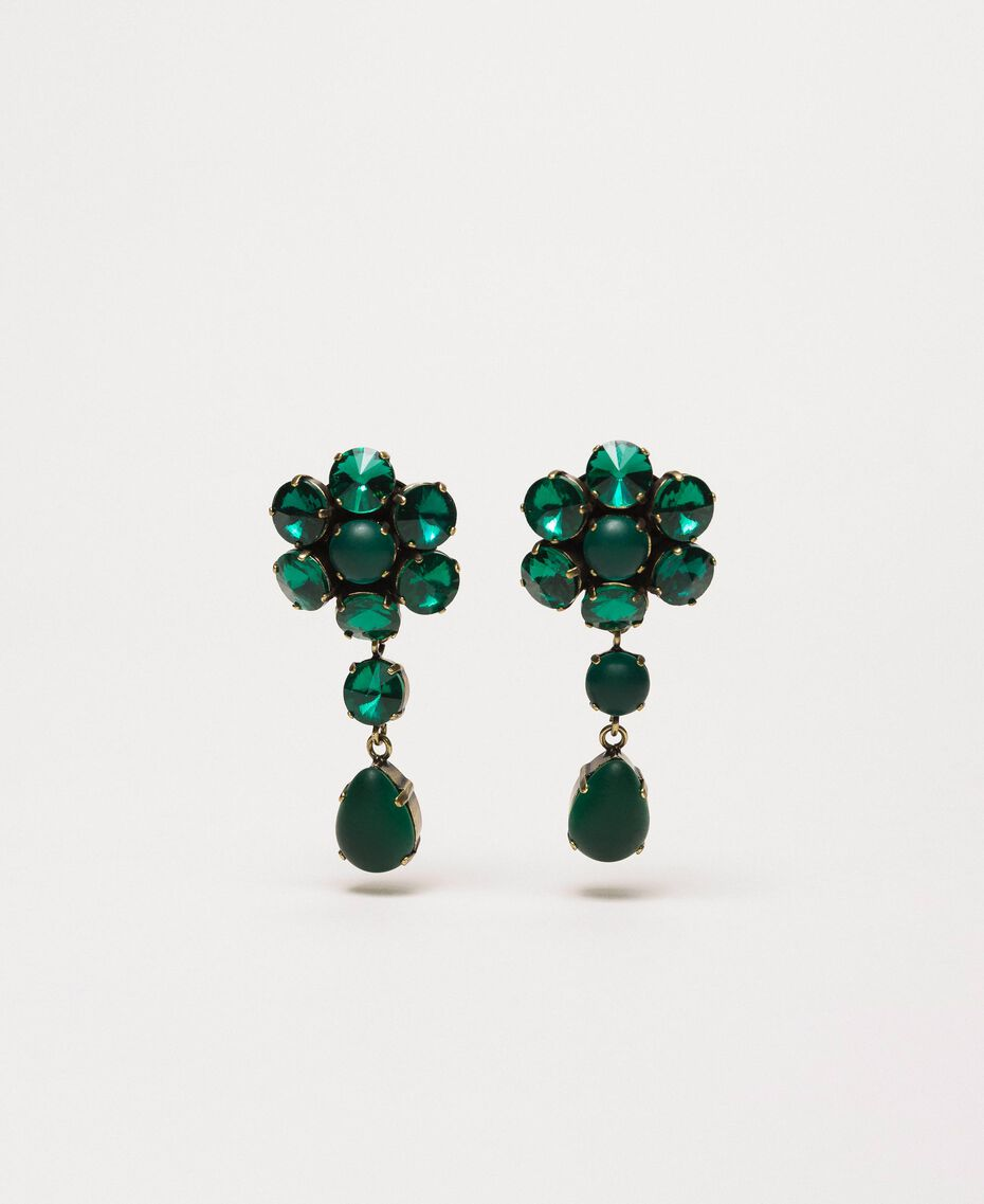 "Pendant earrings with bezels ""Green Jade"" Green Woman 201TO5307-01"