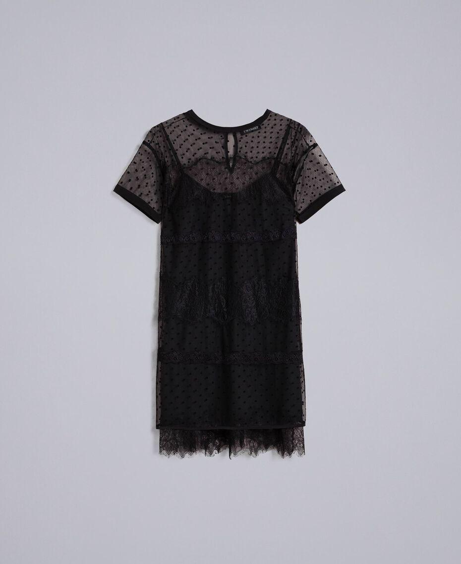 Tulle flock polka dot tunic Black Woman PA82B2-0S