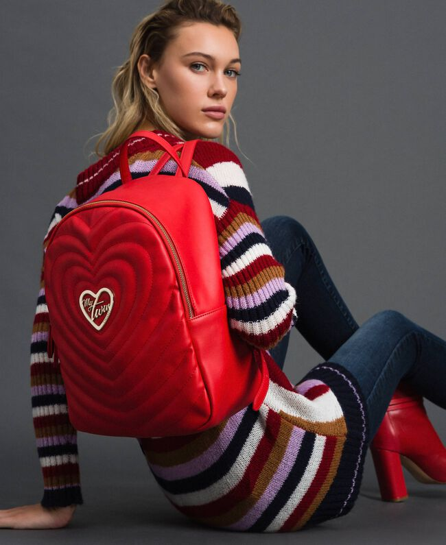 Faux leather backpack with quilted hearts Poppy Red Woman 192MA7082-0S