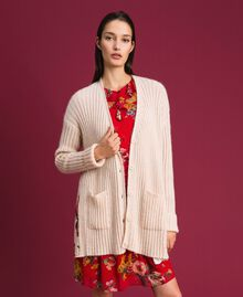 Mohair and printed twill cardigan Cream / Bouquet Print Woman 192TP3061-04