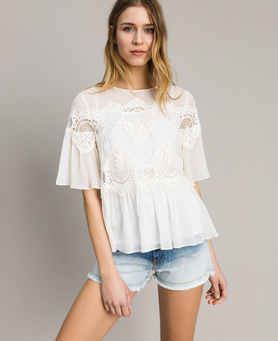 Georgette blouse with lace White Snow Woman 191TT2101-01