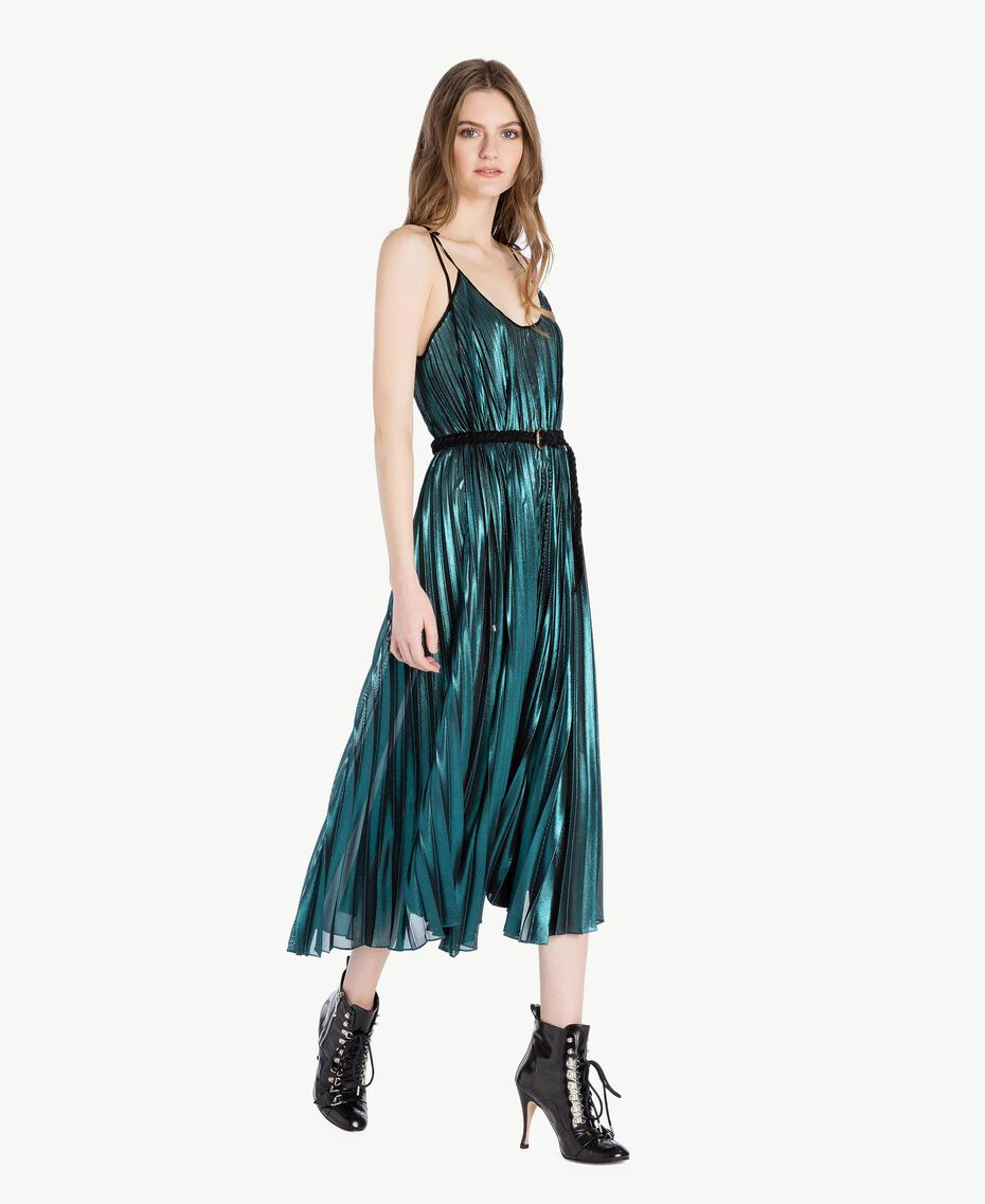 Long pleated dress Metallic Turquoise Woman PS82QP-02