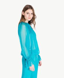 Blouse soie Turquoise Femme PS8221-02