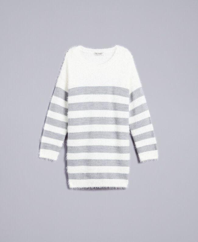 """Maxi maglia in misto lana a righe Bicolor Off White / Grigio """"Grey Stone"""" Bambina GA83E1-01"""
