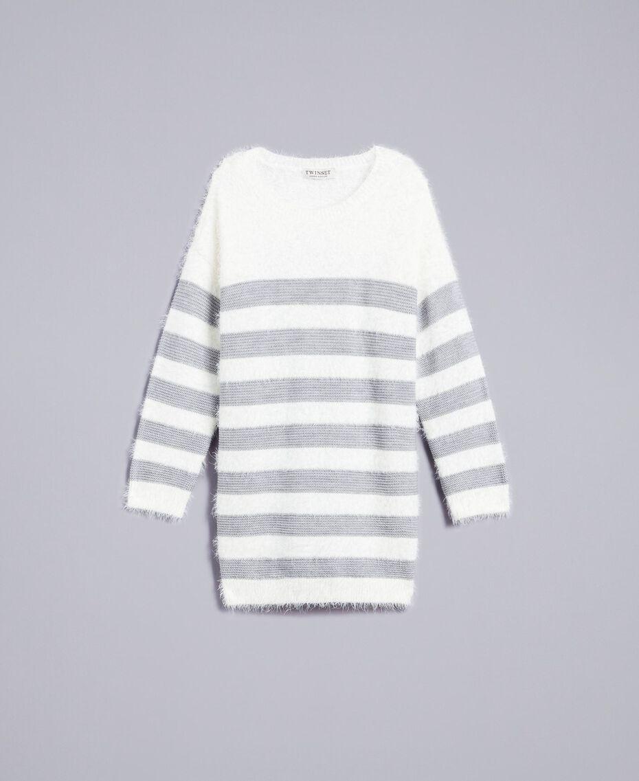 Maxi pull en laine mélangée rayée Bicolore Blanc Cassé / Gris «Grey Stone» Enfant GA83E1-01
