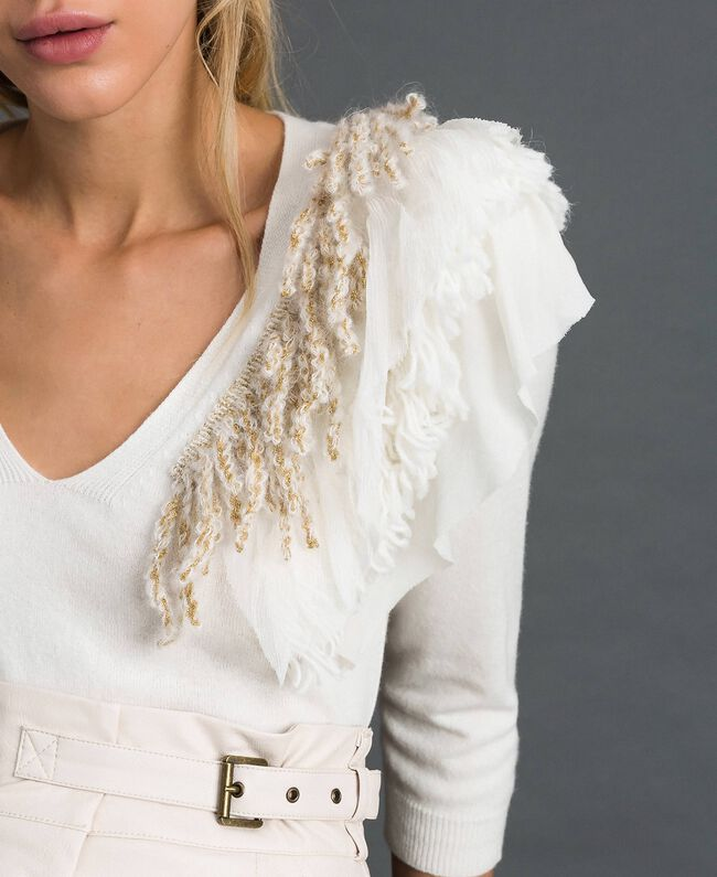 Cashmere blend jumper with fringes White Snow Woman 192TT3304-01